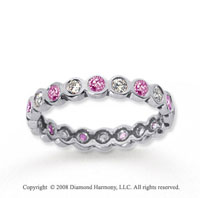 1/2 Carat Pink Sapphire and Diamond 18k W Gold Eternity Band