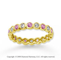 1/2 Carat Pink Sapphire and Diamond 14k Yellow Gold Eternity Band