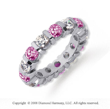 3 Carat Pink Sapphire and Diamond Platinum Eternity Band