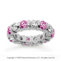 4 Carat Pink Sapphire and Diamond 14k White Gold Eternity Band