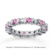 1 1/2 Carat Pink Sapphire and Diamond 18k W Gold Eternity Band