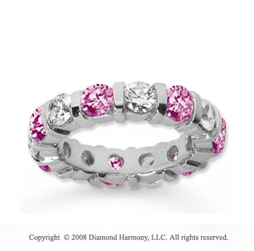 4 Carat Pink Sapphire and Diamond 18k White Gold Eternity Band