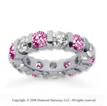 5 Carat Pink Sapphire and Diamond 18k White Gold Eternity Band