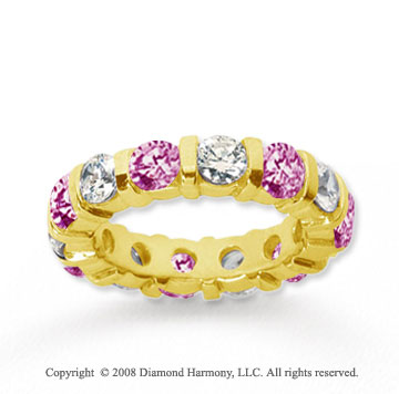 4 Carat Pink Sapphire and Diamond 14k Yellow Gold Eternity Band