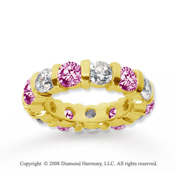 5 Carat Pink Sapphire and Diamond 14k Yellow Gold Eternity Band