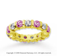 3 Carat Pink Sapphire and Diamond 18k Yellow Gold Eternity Band