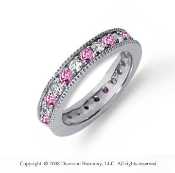 1 1/4 Carat Pink Sapphire and Diamond Platinum Eternity Band