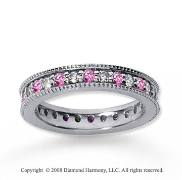 1 Carat Pink Sapphire and Diamond 18k White Gold Eternity Band