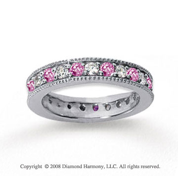 1 1/4 Carat Pink Sapphire and Diamond 18k W Gold Eternity Band
