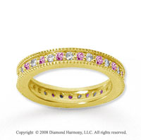 3/4 Carat Pink Sapphire and Diamond 14k Yellow Gold Eternity Band