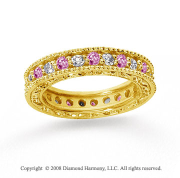1 1/4 Carat Pink Sapphire and Diamond 14k Yellow Gold Eternity Band
