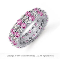 4 1/2 Carat Pink Sapphire and Diamond Platinum Eternity Band