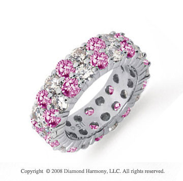 5 1/2 Carat Pink Sapphire and Diamond Platinum Eternity Band