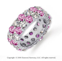 6 1/2 Carat Pink Sapphire and Diamond Platinum Eternity Band