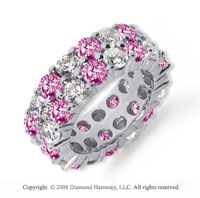 8 1/2 Carat Pink Sapphire and Diamond Platinum Eternity Band