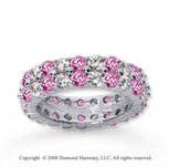 4 1/2 Carat Pink Sapphire and Diamond 14k White Gold Eternity Band