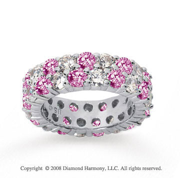 5 1/2 Carat Pink Sapphire and Diamond 14k White Gold Eternity Band