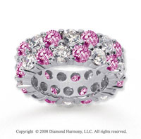 8 1/2 Carat Pink Sapphire and Diamond 14k White Gold Eternity Band
