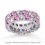 6 1/2 Carat Pink Sapphire and Diamond 18k W Gold Eternity Band