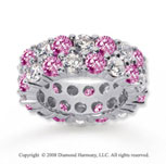 8 1/2 Carat Pink Sapphire and Diamond 18k W Gold Eternity Band