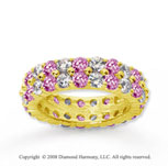 4 1/2 Carat Pink Sapphire and Diamond 14k Yellow Gold Eternity Band