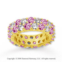 5 1/2 Carat Pink Sapphire and Diamond 14k Yellow Gold Eternity Band