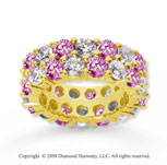 8 1/2 Carat Pink Sapphire and Diamond 14k Yellow Gold Eternity Band