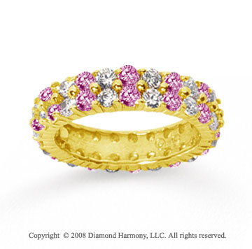 2 1/2 Carat Pink Sapphire and Diamond 18k Y Gold Eternity Band
