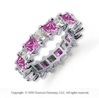 4 3/4 Carat Pink Sapphire and Diamond Platinum Eternity Band