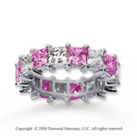 6 1/2 Carat Pink Sapphire and Diamond 14k White Gold Eternity Band
