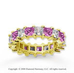 4 3/4 Carat Pink Sapphire and Diamond 14k Yellow Gold Eternity Band