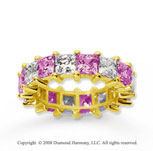 6 1/2 Carat Pink Sapphire and Diamond 14k Yellow Gold Eternity Band