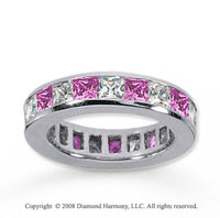 3 Carat Pink Sapphire and Diamond 14k White Gold Eternity Band