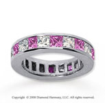 4 3/4 Carat Pink Sapphire and Diamond 14k White Gold Eternity Band