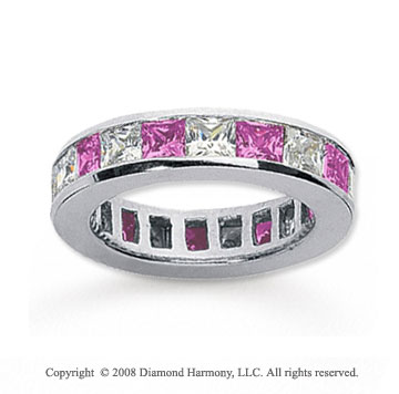 2 1/2 Carat Pink Sapphire and Diamond 18k W Gold Eternity Band