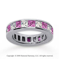 4 3/4 Carat Pink Sapphire and Diamond 18k W Gold Eternity Band