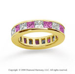 2 Carat Pink Sapphire and Diamond 18k Yellow Gold Eternity Band