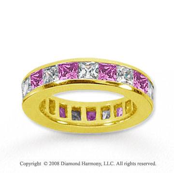 4 Carat Pink Sapphire and Diamond 18k Yellow Gold Eternity Band