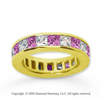 4 3/4 Carat Pink Sapphire and Diamond 18k Y Gold Eternity Band