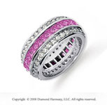 3 1/2 Carat Pink Sapphire and Diamond Platinum Eternity Band