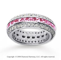2 1/2 Carat Pink Sapphire and Diamond 14k White Gold Eternity Band