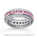 2 1/2 Carat Pink Sapphire and Diamond 18k White Gold Eternity Band