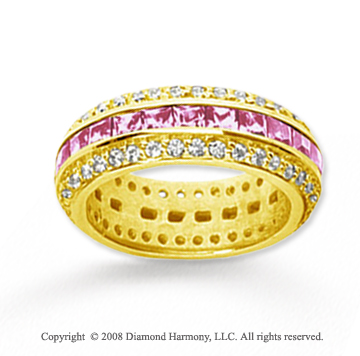 2 1/2 Carat Pink Sapphire and Diamond 18k Yellow Gold Eternity Band