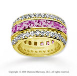 5 Carat Pink Sapphire and Diamond 18k Yellow Gold Eternity Band