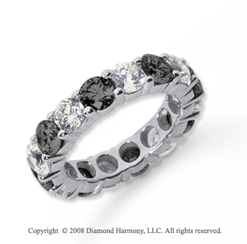 5 Carat Black and White Diamond Platinum Eternity Band