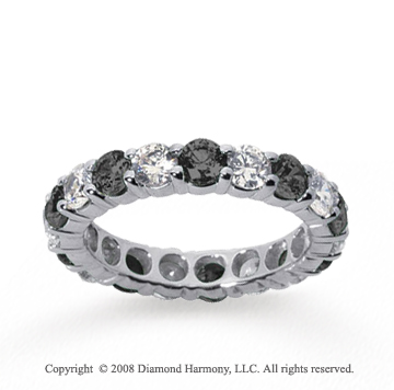 1/2 Carat Black and White Diamond 14k White Gold Eternity Band