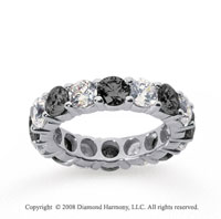 5 Carat Black and White Diamond 14k White Gold Eternity Band