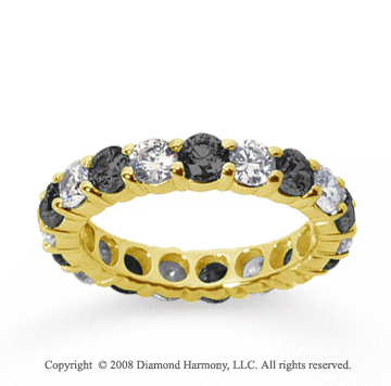 1/2 Carat Black and White Diamond 14k Yellow Gold Eternity Band