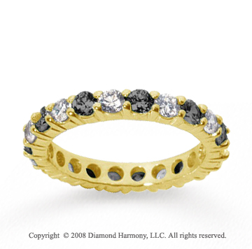 2 1/2 Carat Black White Diamond 14k Yellow Gold Eternity Band