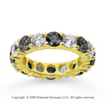 5 Carat Black and White Diamond 14k Yellow Gold Eternity Band